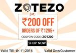 Rs. 200 off on orders of Rs.1295 and above