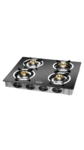 Padmini CS 4 GT Jalwa Crystal 4 Burner Black Gas Stove (Manual Ignition)
