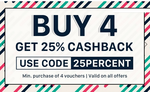 Nearbuy Offers- 25% on Buying 4 Vouchers + Travel Offers