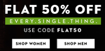Flat 50% off on fashion apparels and accessories(Sitewide)
