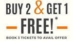 Buy 2 XXX (Xander Cage) movie tickets, and get 1 free
