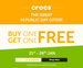 Buy 1 Get 1 Free on Crocs Footwear