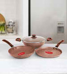 [CHEAPEST] Pigeon Granito Induction Bottom Earthy Brown Aluminium Non-stick Gift Set - Set of 3