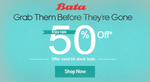 Bata : Up to 50% off on Footwear