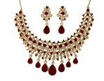 Margarita Red Ruby Galaxy Necklace with Austrian Crystal Diamonds with Gold Plated for Women