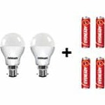 Eveready 7-Watt LED Bulb Pack of 2 + Free 4pc AA Alkaline Batteries Rs. 189