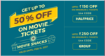 Get 50% off on 4 or more movie tickets and snacks