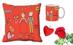 meSleep happy wedding Valentine Digital Printed Cushion (With Filler) & Mug With Free Artificial Rose And Key Chain