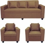Bharat Lifestyle Lexus Fabric 3 + 1 + 1 Dark Brown Sofa Set (Configuration – Straight) low price
