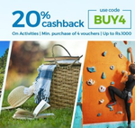 Flat 20% CASHBACK On Activities at Nearbuy discount deal