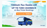 Get 100% cashback up to ₹200 on 1st bus ticket booking. No minimum order value.