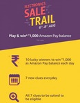 (Last Day Answers) Amazon Electronic Sale Trail Contest 6th To 8th August - Play & Win Rs 1000 Amazon Pay Balance