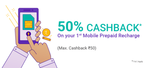 50% Cashback on first ever prepaid recharge transaction on PhonePe