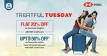 Flat 20% off on domestic flights (No Min) and Extra 20% discount on domestic hotels with HSBC Credit Cards (every tuesday)
