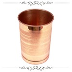 Pure Copper Laquer Coated Glass Tumbler, Ayurveda Herbal Medicinal Serveware, 300 ml (1 pc)