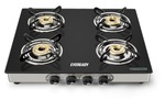Eveready GS TGC4B Stainless Steel 4 Burner Glass-Top Gas Stove, Black