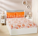 Solimo Jasmine Zest 144 TC 100% Cotton Double Bedsheet with 2 Pillow Covers, Orange