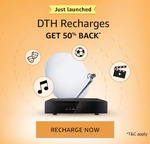 (Back) Get 50% Cashback upto Rs.100 on DTH Recharge. Valid for all users once during the offer period (1st-31st May 2018).
