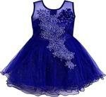 (Hurry only a few left) Wishkaro Girls Midi/Knee Length Casual Dress (Dark Blue, Sleeveless)