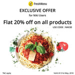 Flat 20% off on entire products in the cart(Discounted/Non-Discounted) on Freshmenu App/Web/Mweb