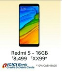 Redmi 5 at 7499 + 10% Instant Discount using icici
