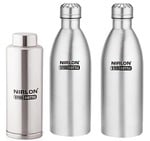 Nirlon Stainless Steel Water Bottle Set, 3-Pieces, Silver