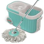 Spotzero by Milton Elite Spin Mop with Bigger Wheels & Auto Fold Handle for 360 Degree Cleaning (Aqua Green, Two Refills)