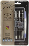 Parker Vector Standard Fountain Pen, Roller Ball Pen and Ball Pen (Black)