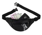 K London Stylish Real Leather Black Waist Bag Elegant Style Travel Pouch Passport Holder with Adjustable Strap(1240_black)
