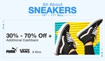 All about sneakers Sale 16-17 May :- 30-70% off + Additional cashback on Stylish pairs