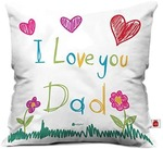 Indigifts Father Birthday Gifts Love You Dad Quote Colorful Cute Flower Design White Cushion Cover 12x12 inch with Filler