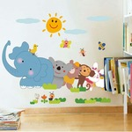 Decals Design Jungle Cartoon Cute Animals' Wall Sticker (PVC Vinyl, 60 cm x 90 cm)