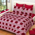 Super India Printed 130 TC Polycotton Double Bedsheet with 2 Pillow Covers - Pink