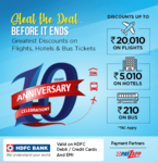 EaseMyTrip 10th Anniversary Sale - discounts on flights, hotels, bus