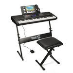 RockJam RJ761 61 Keys Electronic Interactive Teaching Piano Keyboard with Stand, Stool, Sustain pedal & Headphones