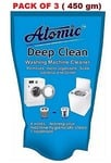 Atomic Washing Machine Cleaning Powder For Top/Front Load (Pack Of 3) 450Gm