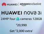 Flat 1500 discount  purchase of Huawei Nova 3i smartphones using Axis Bank Cards at Amazon | 7-8 Aug