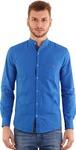 Rapphael Men's Solid Casual Mandarin Shirt