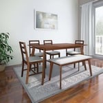 HomeTown Solid Wood 6 Seater Dining Set  (Finish Color - Light Walnut)