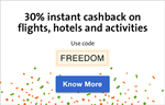 Cleartrip : 30% instant cashback on Domestic Flights