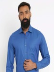 Van Heusen Men Blue Slim Fit Self Design Formal Shirt