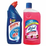 Rs. 190 - Lizol Disinfectant Floor Cleaner - 975 ml (Floral) with Harpic Powerplus Original - 1 L