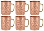 [Price Increased] Frestol Copper Designer Handmade Cups/Mugs Serveware, Tableware having Capacity 200 ML- (Set of 6)