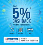 Easemytrip : Grab 5% Cashback on EMI Transactions with HDFC Bank Credit Cards