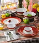 Diva Sovrana Ameerah Red Opal Ware Dinner Set - Set of 33 by La Opala