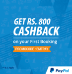 Rs. 800/- cashback on booking flight ticket at EaseMyTrip via PayPal