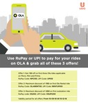 Ola :- Flat 50₹ off on 3 rides , Flat 150₹ off 1st ola Rental & Flat 250₹ off on 1st ola outstation ride when you pay using Udio Rupay Card / UPI