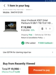 Asus Vivobook X507 BR064T Laptop @ Rs.12491 with 10% Axis bank discount and 5000 Coupons..