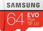 Samsung EVO Plus Grade 3, Class 10 64GB MicroSDXC 100 MB/S Memory Card with SD Adapter