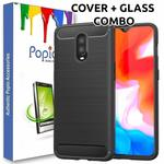 Oneplus 6T Back Cover Case & Tempered Glass Combo by Popio® (Transparent Glass & Cover Combo) [ This deal is exclusively for Prime members ]